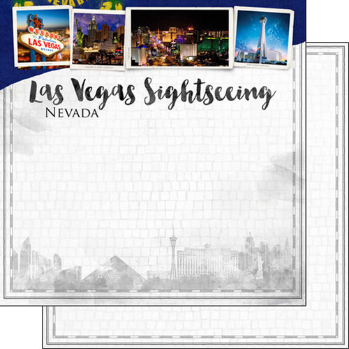 Scrapbook Customs - Sights Collection - 12 x 12 Double Sided Paper - City - Las Vegas