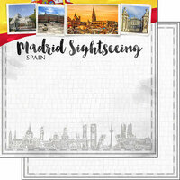 Scrapbook Customs - Sights Collection - 12 x 12 Double Sided Paper - City - Madrid
