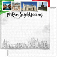 Scrapbook Customs - Sights Collection - 12 x 12 Double Sided Paper - City - Milan