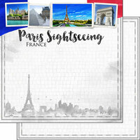 Scrapbook Customs - Sights Collection - 12 x 12 Double Sided Paper - City - Paris
