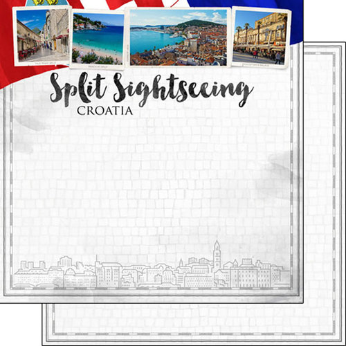 Scrapbook Customs - Sights Collection - 12 x 12 Double Sided Paper - City - Split