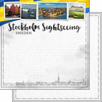 Scrapbook Customs - Sights Collection - 12 x 12 Double Sided Paper - City - Stockholm