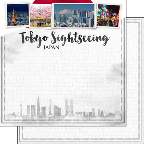 Scrapbook Customs - Sights Collection - 12 x 12 Double Sided Paper - City - Tokyo