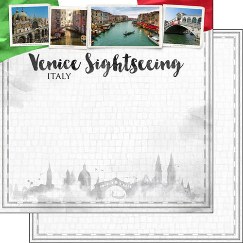 Scrapbook Customs - Sights Collection - 12 x 12 Double Sided Paper - City - Venice