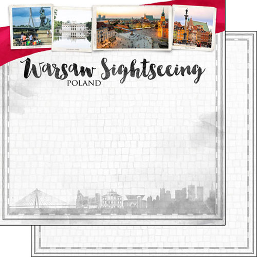 Scrapbook Customs - Sights Collection - 12 x 12 Double Sided Paper - City - Warsaw