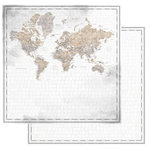 Scrapbook Customs - 12 x 12 Double Sided Paper - World Map Watercolor