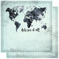 Scrapbook Customs - 12 x 12 Double Sided Paper - World Map - Let's See It All