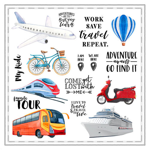 Scrapbook Customs - 12 x 12 Paper - Transportation Watercolor Cut Outs