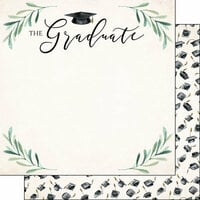 Scrapbook Customs - 12 x 12 Double Sided Paper - Graduate Watercolor