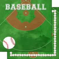 Scrapbook Customs - 12 x 12 Double Sided Paper - Baseball Watercolor