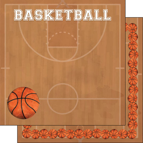 Scrapbook Customs - 12 x 12 Double Sided Paper - Basketball Watercolor