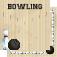 Scrapbook Customs - 12 x 12 Double Sided Paper - Bowling Watercolor