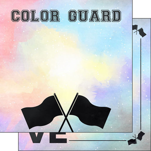Scrapbook Customs - 12 x 12 Double Sided Paper - Color Guard Watercolor