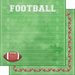 Scrapbook Customs - 12 x 12 Double Sided Paper - Football Watercolor
