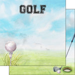 Scrapbook Customs - 12 x 12 Double Sided Paper - Golf Watercolor