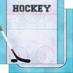 Scrapbook Customs - 12 x 12 Double Sided Paper - Hockey Watercolor