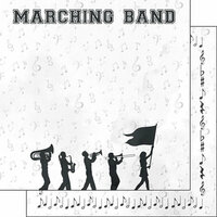 Scrapbook Customs - 12 x 12 Double Sided Paper - Marching Band Watercolor