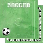 Scrapbook Customs - 12 x 12 Double Sided Paper - Soccer Watercolor