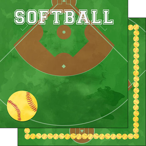 Scrapbook Customs - 12 x 12 Double Sided Paper - Softball Watercolor