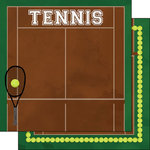 Scrapbook Customs - 12 x 12 Double Sided Paper - Tennis Watercolor