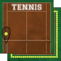 Scrapbook Customs - 12 x 12 Double Sided Paper - Tennis Watercolor