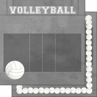 Scrapbook Customs - 12 x 12 Double Sided Paper - Volleyball Watercolor