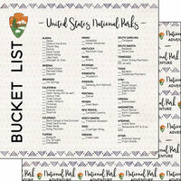 Scrapbook Customs - 12 x 12 Double Sided Paper - National Parks Bucket List