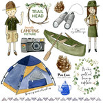 Scrapbook Customs - 12 x 12 Paper - NPWC Camping Things 3 Cut Out