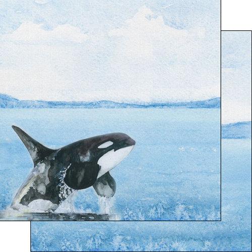 Scrapbook Customs - Safari Watercolor Collection - 12 x 12 Double Sided Paper - Orca Safari