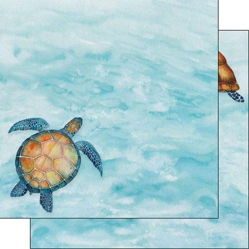 Scrapbook Customs - Safari Watercolor Collection - 12 x 12 Double Sided Paper - Sea Turtle Safari