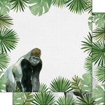 Scrapbook Customs - Safari Watercolor Collection - 12 x 12 Double Sided Paper - Gorilla Safari