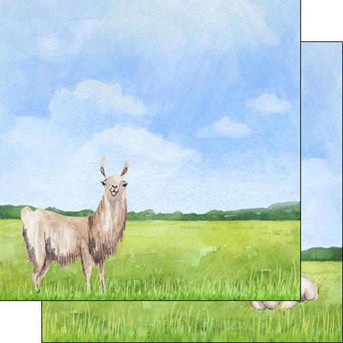 Scrapbook Customs - Safari Watercolor Collection - 12 x 12 Double Sided Paper - Llama Safari
