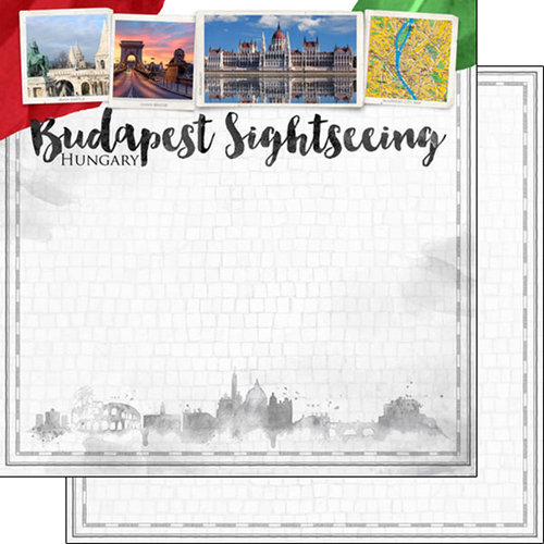 Scrapbook Customs - Sights Collection - 12 x 12 Double Sided Paper - City - Budapest
