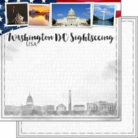 Scrapbook Customs - Sights Collection - 12 x 12 Double Sided Paper - City - Washington DC