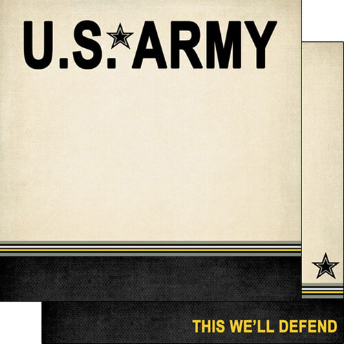 Scrapbook Customs - Military Collection - 12 x 12 Double Sided Paper - Army Border Stripe
