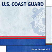 Scrapbook Customs - Military Collection - 12 x 12 Double Sided Paper - Coast Guard Border Stripe