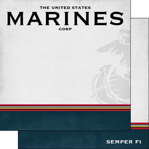 Scrapbook Customs - Military Collection - 12 x 12 Double Sided Paper - Marines Border Stripe