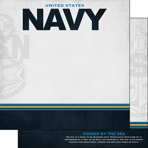 Scrapbook Customs - Military Collection - 12 x 12 Double Sided Paper - Navy Border Stripe