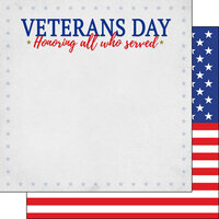 Scrapbook Customs - 12 x 12 Double Sided Paper - Veteran's Day