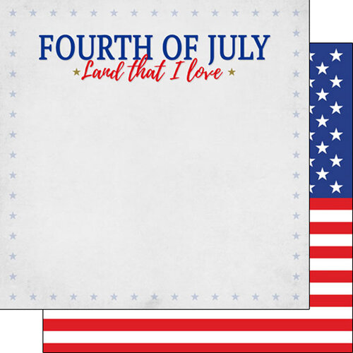 Scrapbook Customs - 12 x 12 Double Sided Paper - Fourth of July Star Border