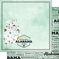 Scrapbook Customs - Postage Map Collection - 12 x 12 Double Sided Paper - Alabama