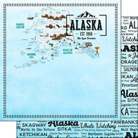 Scrapbook Customs - Postage Map Collection - 12 x 12 Double Sided Paper - Alaska