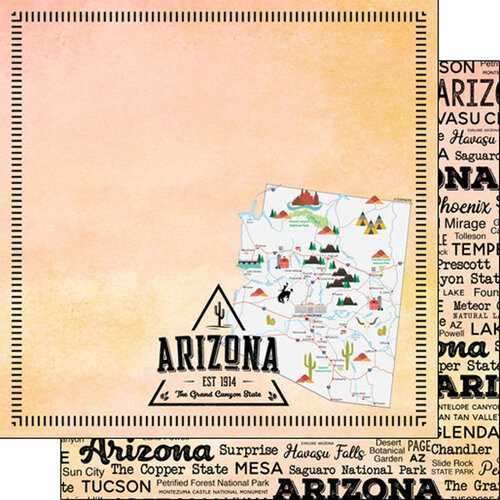 Scrapbook Customs - Postage Map Collection - 12 x 12 Double Sided Paper - Arizona