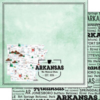 Scrapbook Customs - Postage Map Collection - 12 x 12 Double Sided Paper - Arkansas