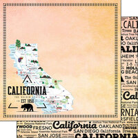 Scrapbook Customs - Postage Map Collection - 12 x 12 Double Sided Paper - California