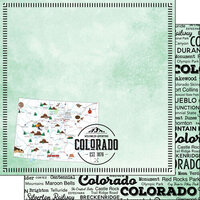 Scrapbook Customs - Postage Map Collection - 12 x 12 Double Sided Paper - Colorado