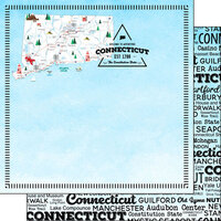 Scrapbook Customs - Postage Map Collection - 12 x 12 Double Sided Paper - Connecticut