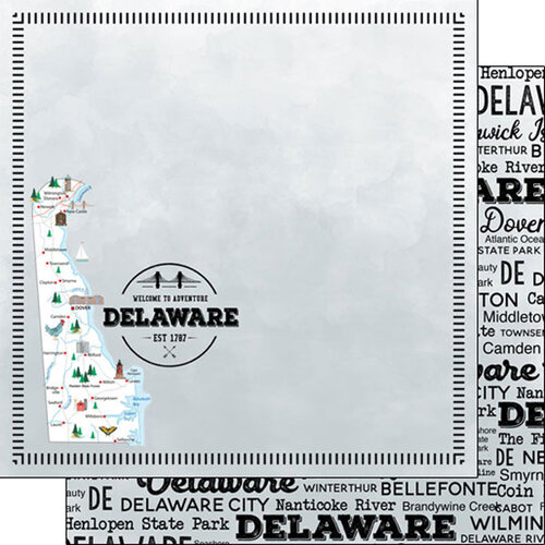 Scrapbook Customs - Postage Map Collection - 12 x 12 Double Sided Paper - Delaware