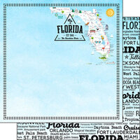Scrapbook Customs - Postage Map Collection - 12 x 12 Double Sided Paper - Florida