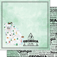 Scrapbook Customs - Postage Map Collection - 12 x 12 Double Sided Paper - Georgia